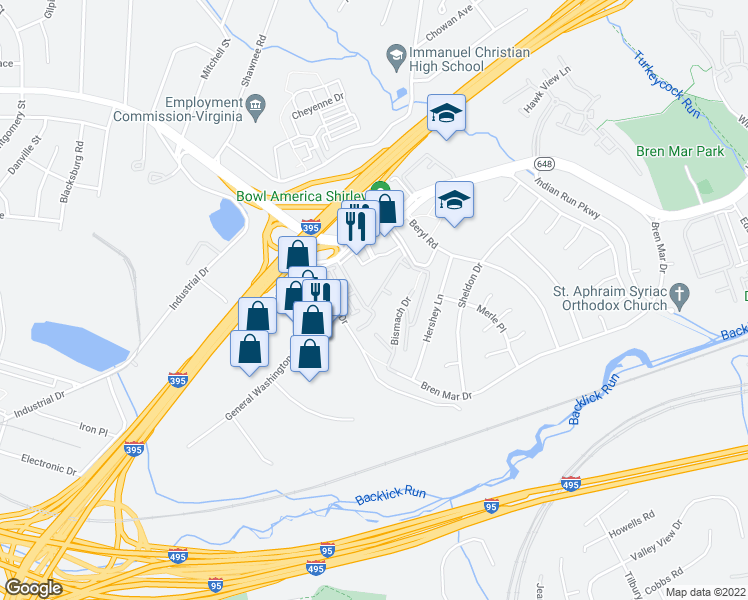 map of restaurants, bars, coffee shops, grocery stores, and more near 5575 Vincent Gate Terrace in Alexandria