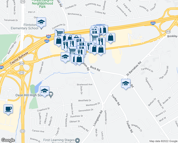 map of restaurants, bars, coffee shops, grocery stores, and more near 6441 Livingston Road in Oxon Hill