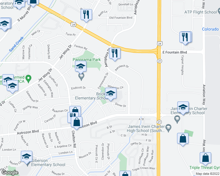 map of restaurants, bars, coffee shops, grocery stores, and more near 4825 Wineskin Circle in Colorado Springs