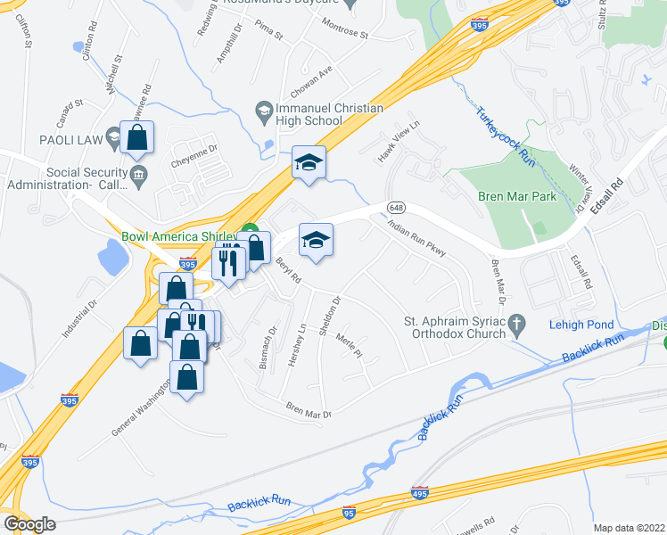 map of restaurants, bars, coffee shops, grocery stores, and more near 6344 Beryl Road in Alexandria