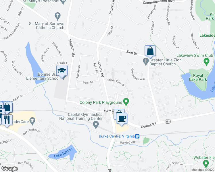 map of restaurants, bars, coffee shops, grocery stores, and more near 5434 New London Park Drive in Fairfax