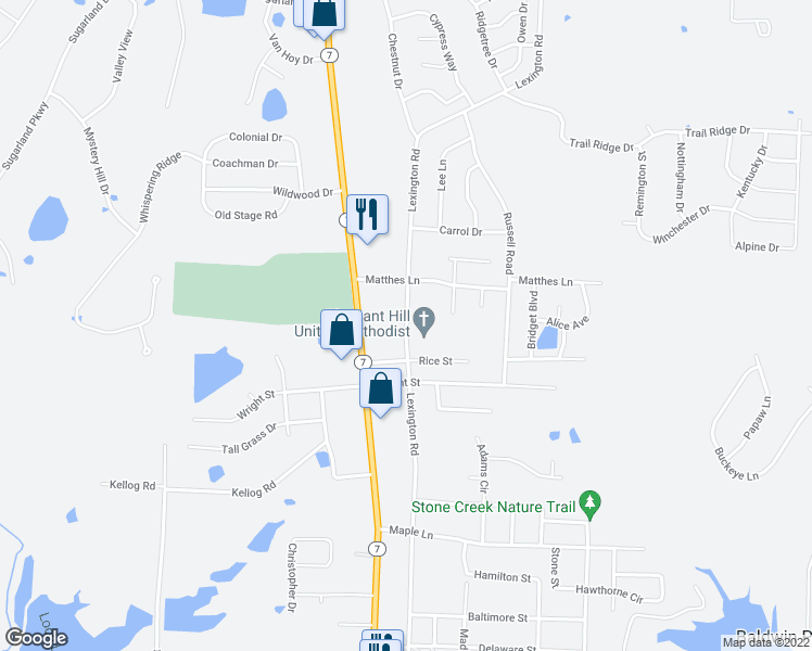 map of restaurants, bars, coffee shops, grocery stores, and more near Lexington Road in Pleasant Hill
