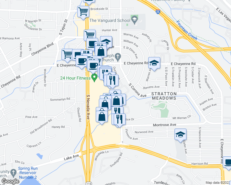 map of restaurants, bars, coffee shops, grocery stores, and more near 62-66 Southgate Center in Colorado Springs