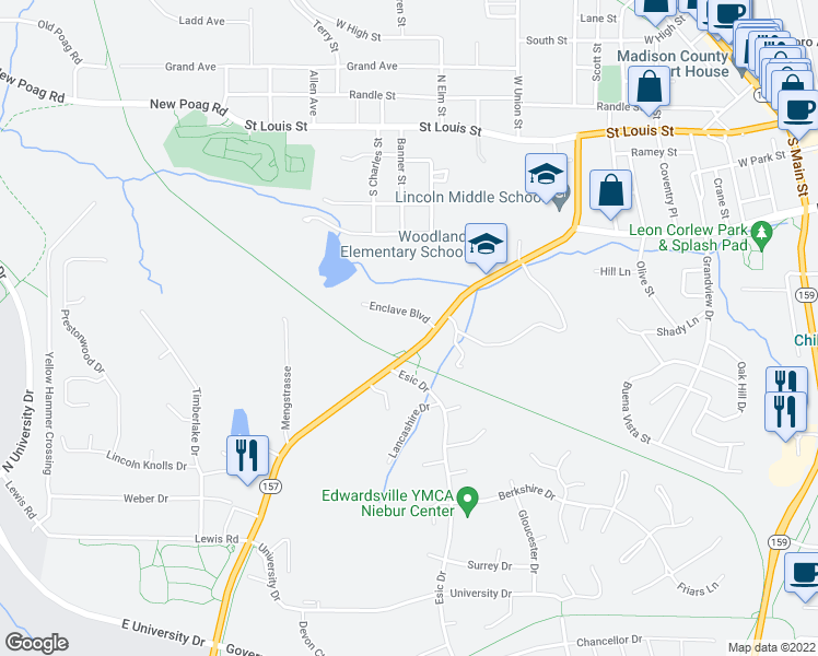 map of restaurants, bars, coffee shops, grocery stores, and more near 1010 Enclave Boulevard in Edwardsville