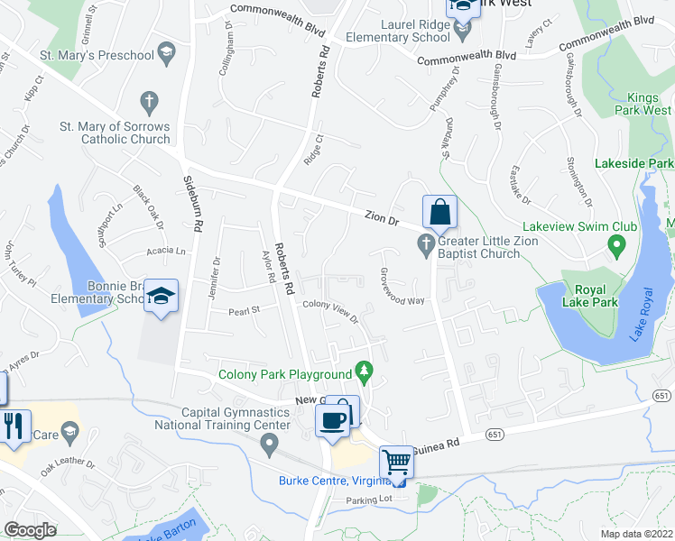 map of restaurants, bars, coffee shops, grocery stores, and more near 10360 Hampshire Green Avenue in Fairfax