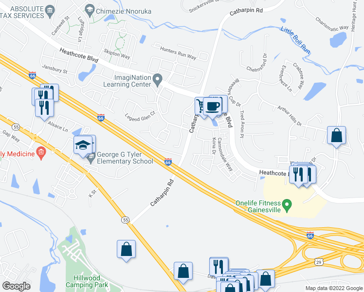 map of restaurants, bars, coffee shops, grocery stores, and more near 6791-6829 Catharpin Road in Gainesville