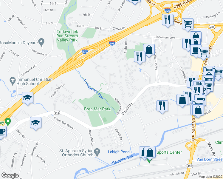 map of restaurants, bars, coffee shops, grocery stores, and more near 6274 Edsall Road in Alexandria