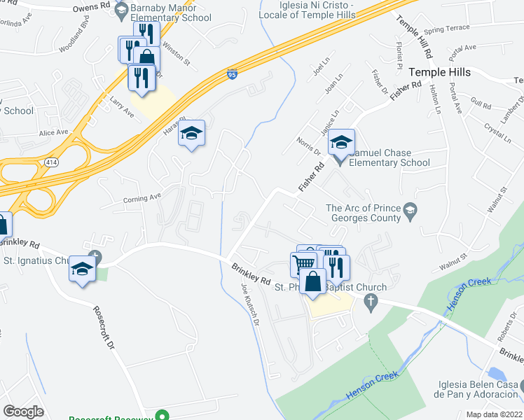 map of restaurants, bars, coffee shops, grocery stores, and more near 5759-5857 Fisher Road in Temple Hills