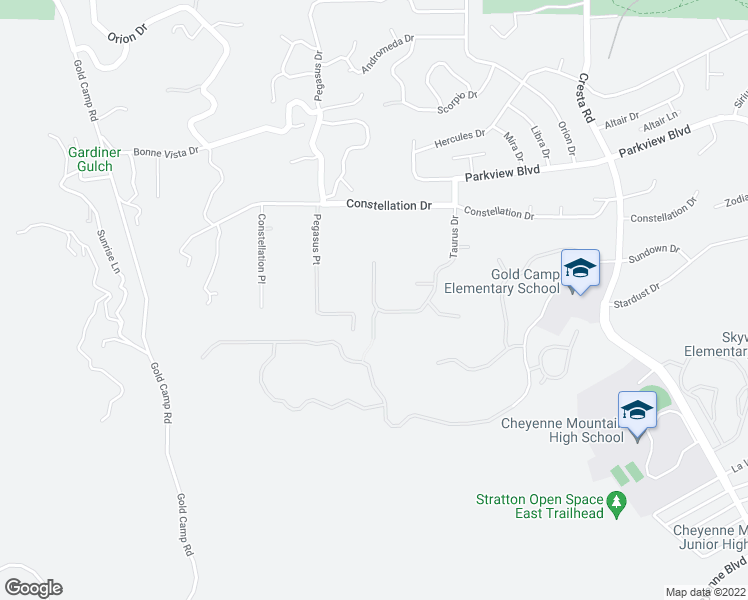 map of restaurants, bars, coffee shops, grocery stores, and more near Oakmoor Heights in Colorado Springs
