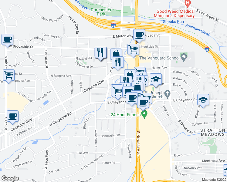 map of restaurants, bars, coffee shops, grocery stores, and more near 1801 South Cascade Avenue in Colorado Springs