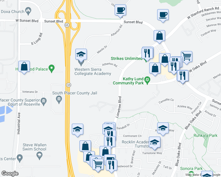 map of restaurants, bars, coffee shops, grocery stores, and more near 6201 West Oaks Boulevard in Rocklin