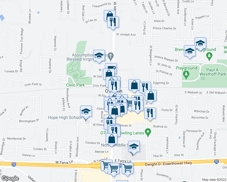map of restaurants, bars, coffee shops, grocery stores, and more near in O'Fallon