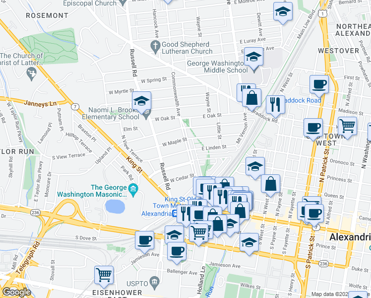 map of restaurants, bars, coffee shops, grocery stores, and more near 300 Commonwealth Avenue in Alexandria