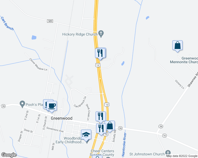 map of restaurants, bars, coffee shops, grocery stores, and more near 12385 Sussex Highway in Greenwood