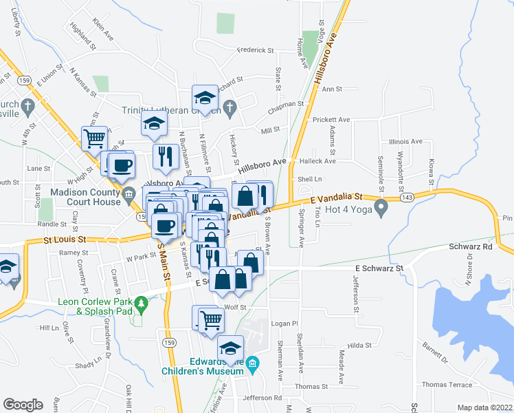 map of restaurants, bars, coffee shops, grocery stores, and more near 451 East Vandalia Street in Edwardsville