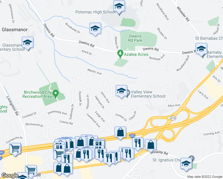 map of restaurants, bars, coffee shops, grocery stores, and more near 5501 Danby Avenue in Oxon Hill-Glassmanor