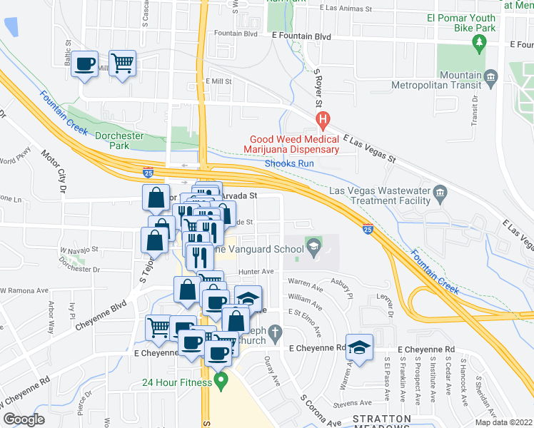 map of restaurants, bars, coffee shops, grocery stores, and more near 418 East Brookside Street in Colorado Springs