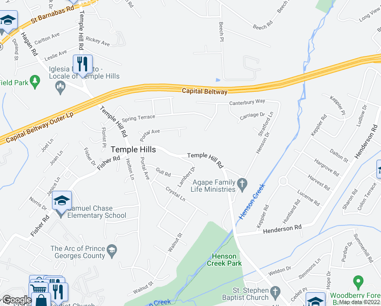 map of restaurants, bars, coffee shops, grocery stores, and more near 5200 Temple Hill Road in Temple Hills