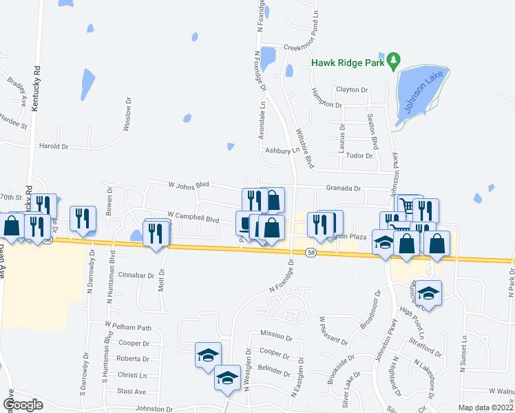 map of restaurants, bars, coffee shops, grocery stores, and more near 505 Andypaul Court in Raymore