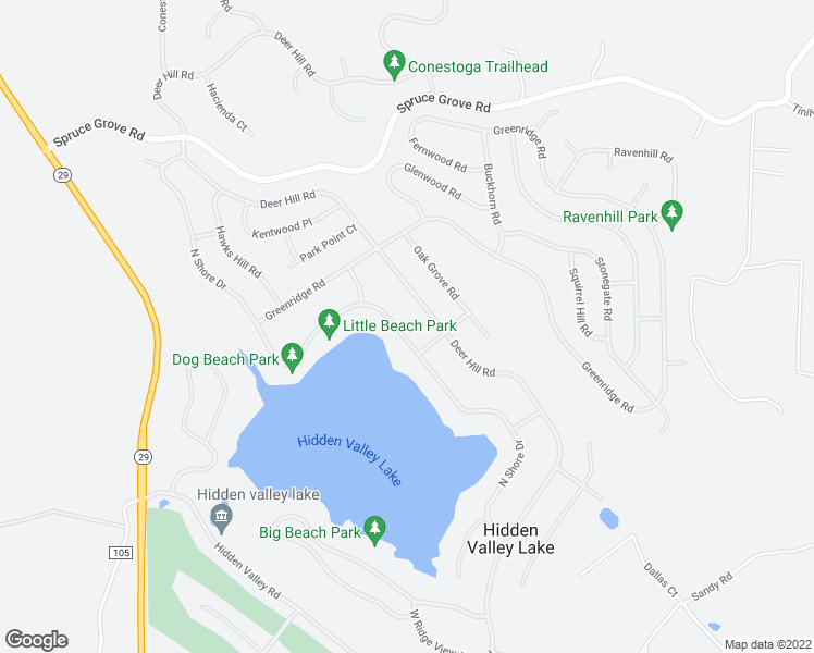 map of restaurants, bars, coffee shops, grocery stores, and more near 18654 North Shore Drive in Hidden Valley Lake
