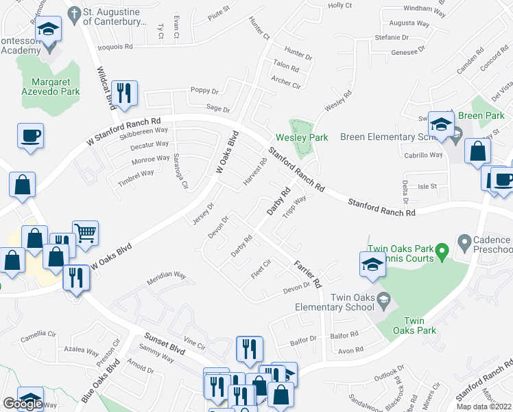 map of restaurants, bars, coffee shops, grocery stores, and more near Salem Way in Rocklin