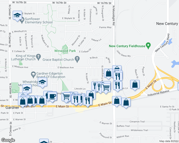 map of restaurants, bars, coffee shops, grocery stores, and more near 370 North Birch in Gardner