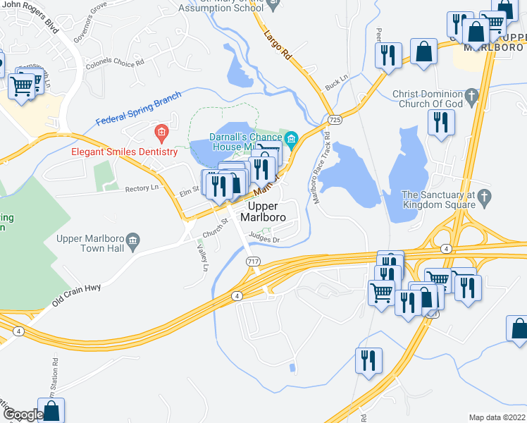 map of restaurants, bars, coffee shops, grocery stores, and more near in Upper Marlboro
