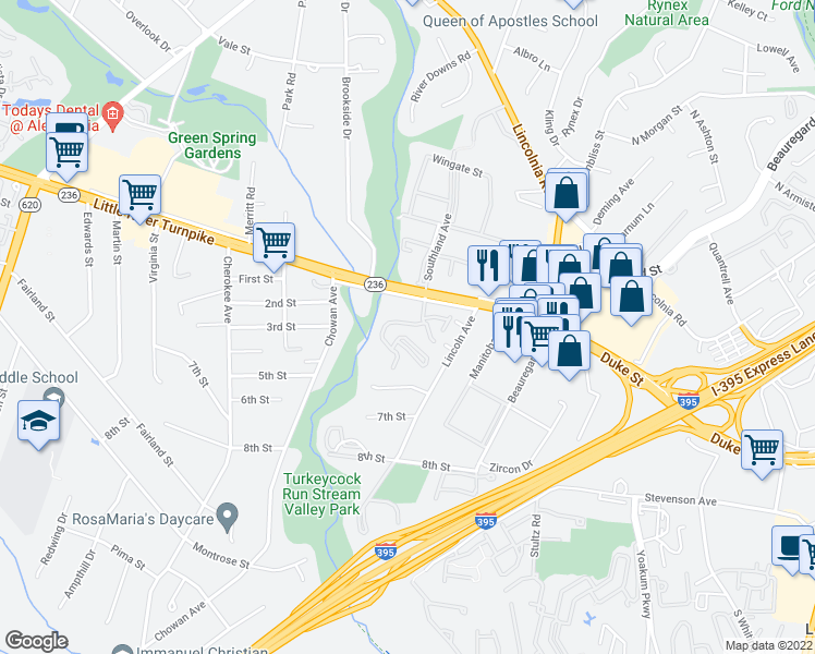 map of restaurants, bars, coffee shops, grocery stores, and more near 4905 Southland Avenue in Lincolnia