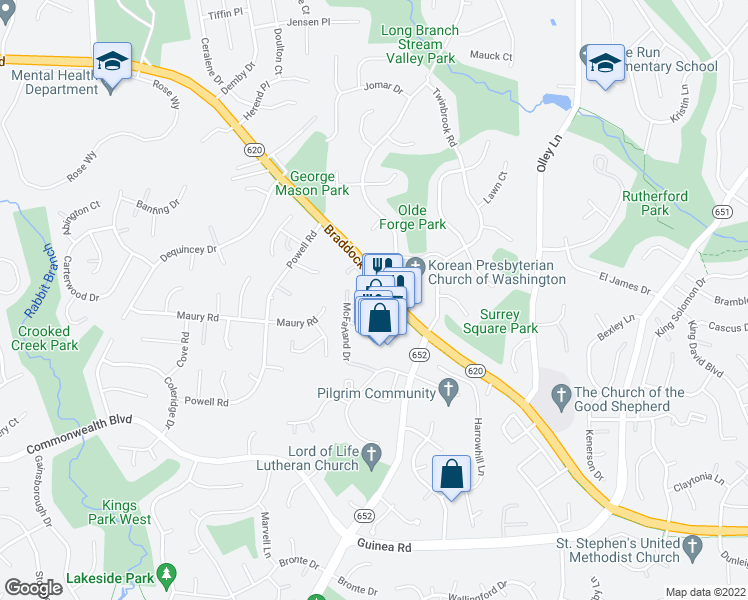 map of restaurants, bars, coffee shops, grocery stores, and more near in Fairfax