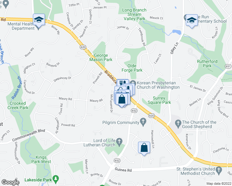 map of restaurants, bars, coffee shops, grocery stores, and more near 4832 Nash Drive in Fairfax