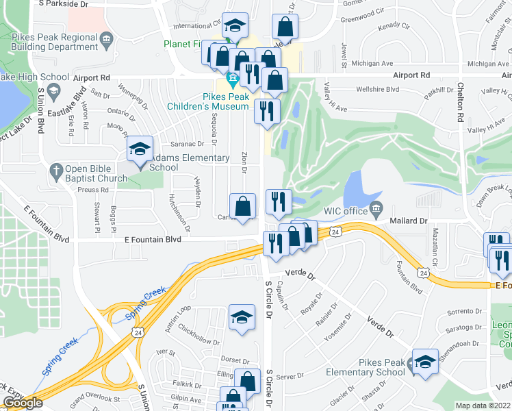 map of restaurants, bars, coffee shops, grocery stores, and more near 834 South Circle Drive in Colorado Springs