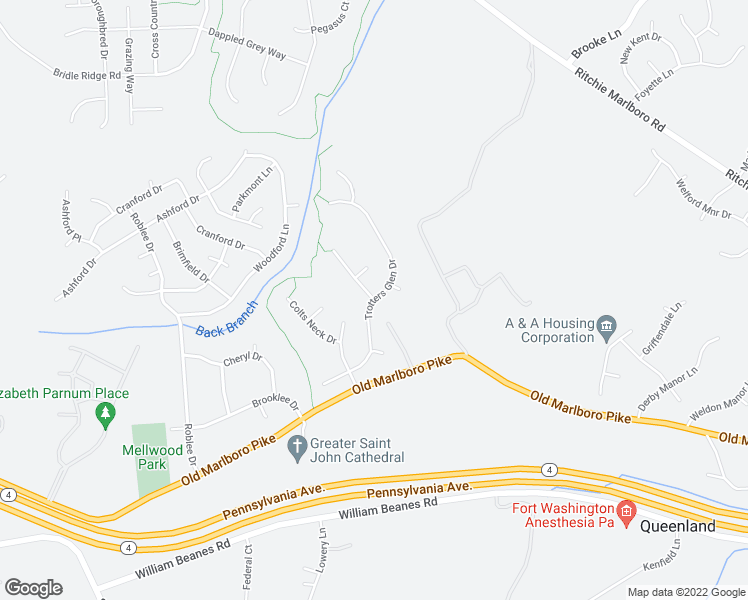map of restaurants, bars, coffee shops, grocery stores, and more near 5108 Trotters Glen Drive in Upper Marlboro