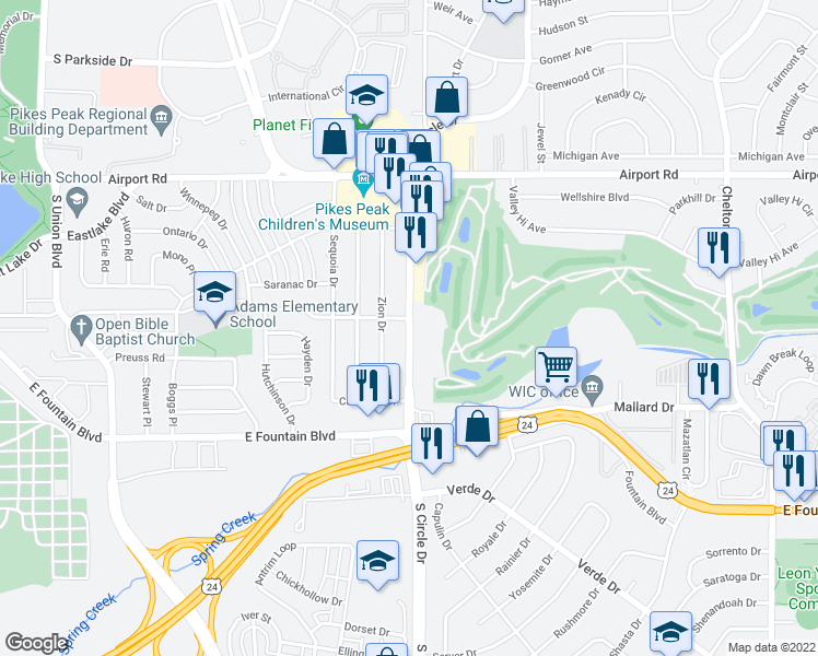 map of restaurants, bars, coffee shops, grocery stores, and more near 816 South Circle Drive in Colorado Springs