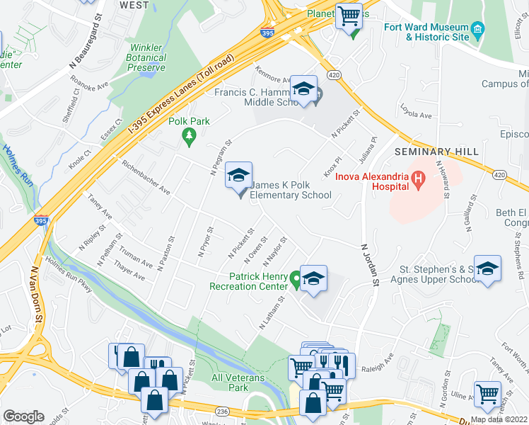 map of restaurants, bars, coffee shops, grocery stores, and more near North Pickett Street in Alexandria