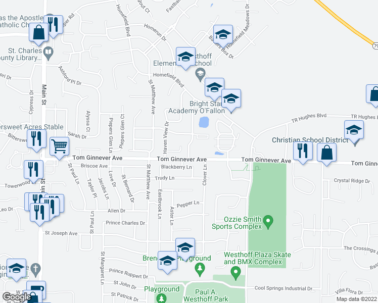 map of restaurants, bars, coffee shops, grocery stores, and more near 805 Blackberry Lane in O'Fallon