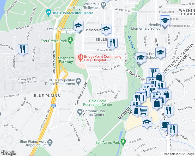 map of restaurants, bars, coffee shops, grocery stores, and more near 4660 Martin Luther King Junior Avenue Southwest in Washington