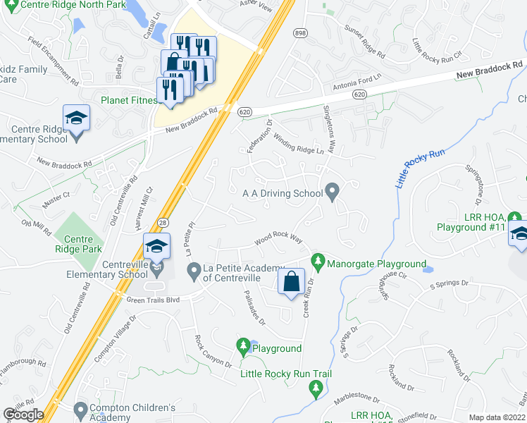 map of restaurants, bars, coffee shops, grocery stores, and more near 14138 Honey Hill Court in Centreville