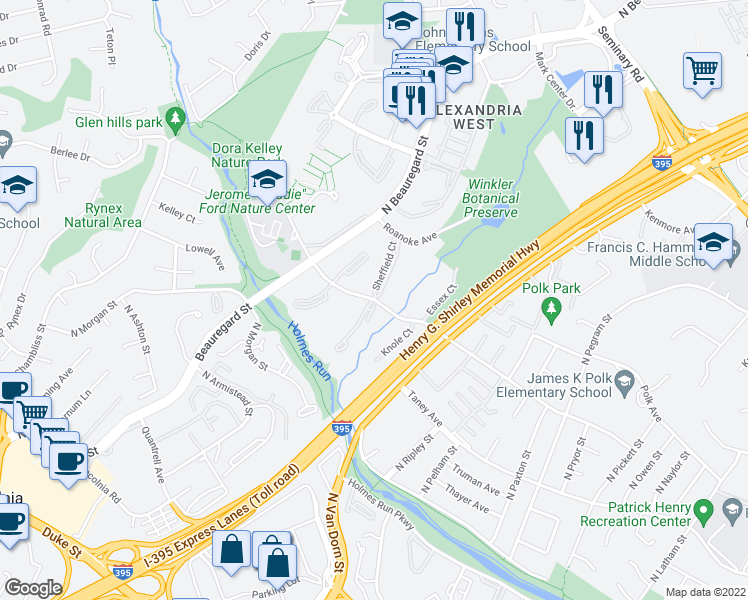 map of restaurants, bars, coffee shops, grocery stores, and more near Sanger Avenue & Sheffield Court in Alexandria