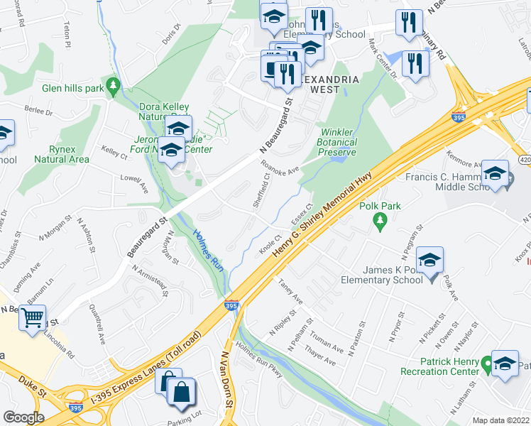 map of restaurants, bars, coffee shops, grocery stores, and more near 5411 Sheffield Court in Alexandria