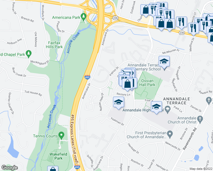 map of restaurants, bars, coffee shops, grocery stores, and more near 7931 Patriot Drive in Annandale