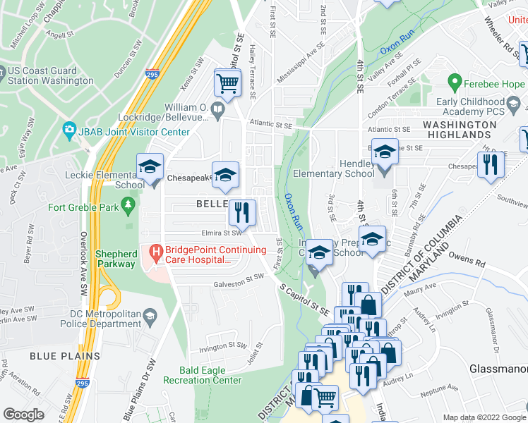 map of restaurants, bars, coffee shops, grocery stores, and more near 4318 Halley Terrace Southeast in Washington