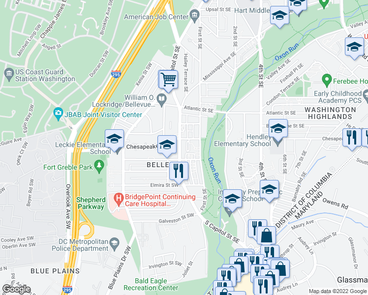 map of restaurants, bars, coffee shops, grocery stores, and more near 21 Chesapeake Street Southeast in Washington