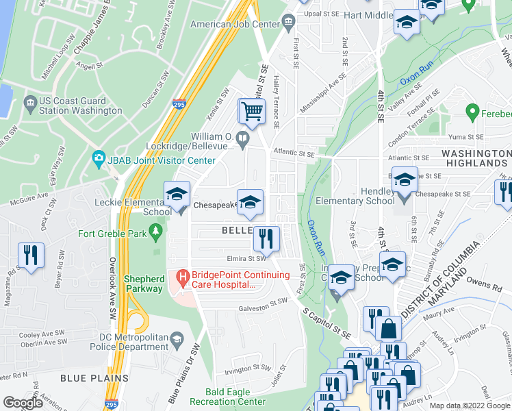 map of restaurants, bars, coffee shops, grocery stores, and more near 18 Chesapeake Street Southwest in Washington