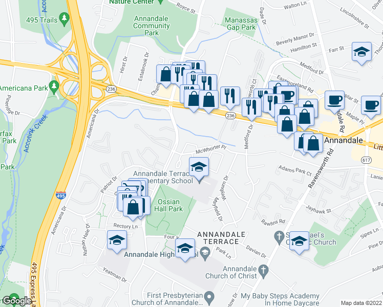 map of restaurants, bars, coffee shops, grocery stores, and more near 7615 Allman Drive in Annandale