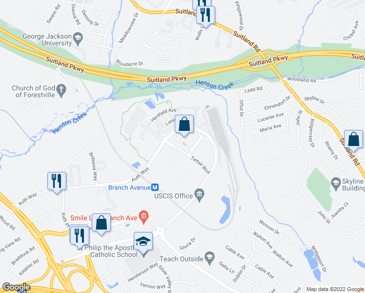 map of restaurants, bars, coffee shops, grocery stores, and more near 4400 Telfair Boulevard in Camp Springs