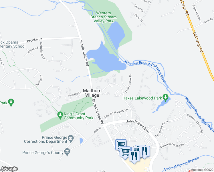 map of restaurants, bars, coffee shops, grocery stores, and more near Lord Sterling Place in Upper Marlboro