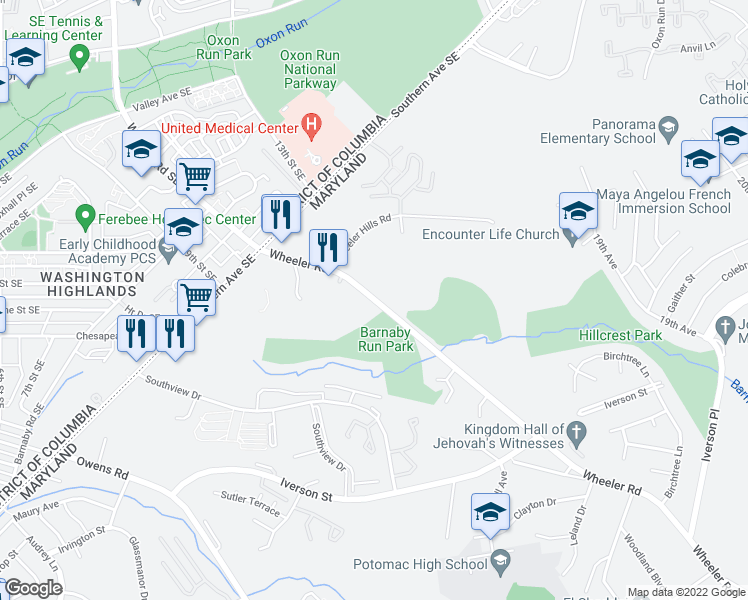 map of restaurants, bars, coffee shops, grocery stores, and more near 4545 Wheeler Road in Oxon Hill-Glassmanor