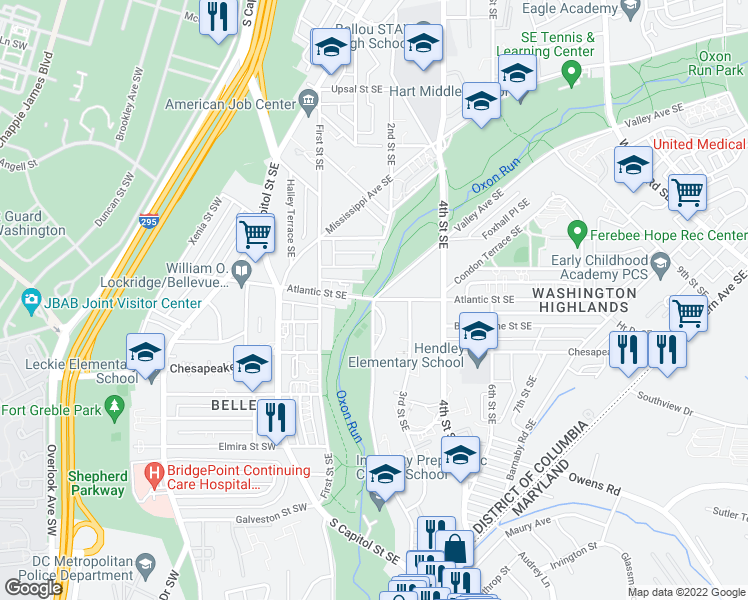 map of restaurants, bars, coffee shops, grocery stores, and more near Atlantic Street Southeast & Livingston Road Southeast in Washington