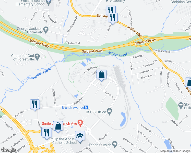 map of restaurants, bars, coffee shops, grocery stores, and more near 5544 Auth Way in Camp Springs