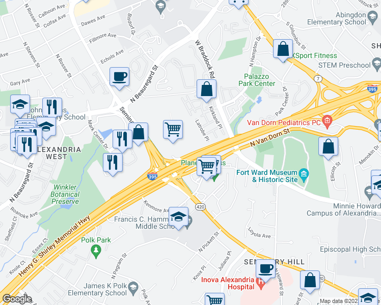 map of restaurants, bars, coffee shops, grocery stores, and more near 4901 Seminary Road in Alexandria